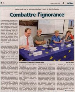 Article de presse sur la quatrième table ronde